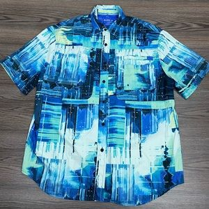 Reel Legends Aqua, Blue & Black PFG Fishing Shirt